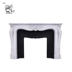 Format personnalisé de Mantel de gros moderne artificielle cheminée en marbre de Carrare Mfm-18