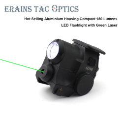 Tácticas de la carcasa de aluminio compacto 180 lúmenes LED Linterna Verde con vista láser para la pistola Glock17 pistolas