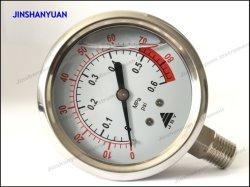 Manometro riempito liquido esatto industriale inferiore idraulico dell'acciaio inossidabile di refrigerazione del manometro del collegamento Og-006