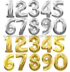 OEM coloridos globos de papel de aluminio de diseño con el número de fiesta
