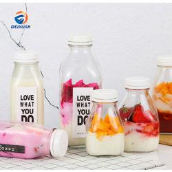 Comercio al por mayor 500ml botella de vidrio cuadrado con tapa de plástico para bebidas de jugo de leche