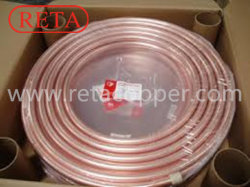ASTM B88 da bobina do Tubo de cobre de refrigeração com embalagens de plástico