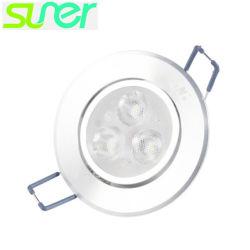 Встроенный регулируемый набегающей Светодиодный прожектор на потолке 3X1w 6500K Холодный белый