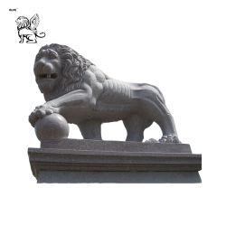 커다란 야외 동물 대리석 동상 사자와 볼 조각 공원 - 06