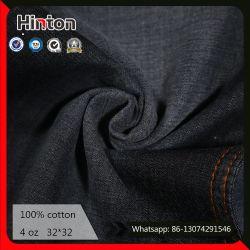 100%年の綿のジーンファブリック4oz黒いカラーデニムのShirtingファブリック