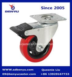 Faire pivoter la plaque supérieure de roulette avec frein de roue simple