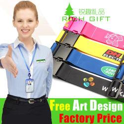 Commerce de gros de l'écran personnalisé personnalisé imprimé de polyester élastique/cuir/crochet et boucle/sublimation/nylon/PP/Travel Luggage Tag sangle de ceinture avec boucle en métal