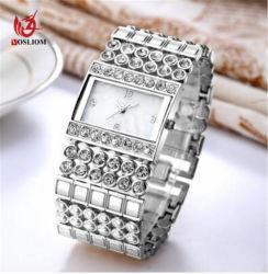 De vierkante Horloges #V336 van de Diamant van de Mannen van de Vrouwen van het Polshorloge van Bandbracelet van de Ketting van de Legering Gouden