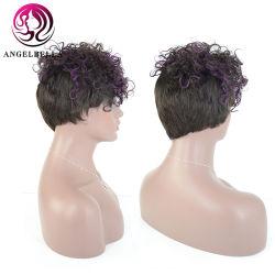 Angelbella Curto Encaracolado Cabelo humano Perucas 130 brasileiros de densidade Remy Hair máquina feita Perucas com estrondo 1b-púrpura Realce Curly Peruca