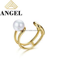 Новый элегантный прибудут 925 серебристые украшения 18k позолоченными контактами Pearl Earring манжеты моды украшения для стильных женщин