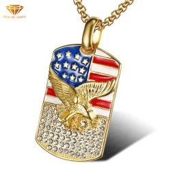 O Hip Hop Hiphop jóias de aço titânio / Aço inoxidável Rhinestone Pintura bandeira americana Eagle Spdw pendente081