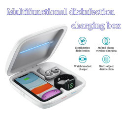 Зарядное устройство для беспроводной многофункциональный дезинфекции в салоне 4 в 1 телефона стерилизатор окно зарядной станции для iPhone и Apple Смотрите