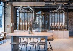Café haut de contreplaqué de socle gris table haute avec acier peint en noir High Bar Président