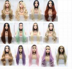 24인치 Lace Half Wig 내열 벤더가 블랙 우먼스, 인조 머리 가발을 위한 가발을 제공합니다