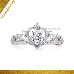 Anello di cerimonia nuziale a forma di dei monili del diamante di colore dell'oro bianco dei monili 18K del cuore di modo
