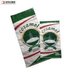 شعار جديد لدعم المواد طباعة حقيبة PP شفافة منسوجة لـ 10 كجم 20 كجم سعر تغليف الأرز