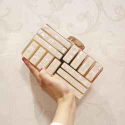 فاخرة التتتمة الذهبية سلسلة حقيبة الأزياء كريستال بياد لاديز سكواتش سكواير المسائية حقيبة الحفلات