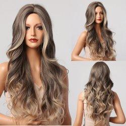 Ombre Brown loira Peruca Longa sintéticas Perucas para Mulheres Onda Natural Hair Perucas parte intermediária Cabeleiras Naturais resistentes ao calor