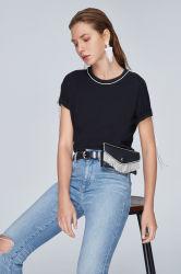 De forma personalizada Quantidade Diamante Verão Decoração de franja nobre e moda elegante gola redonda T-shirt para as mulheres jovens