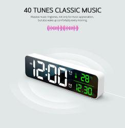 Pantalla LED grande la decoración del hogar digital de la tabla de la moda Reloj LED Reloj de pared Reloj de alarma de espejo para regalo de promoción