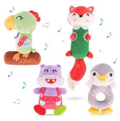 China Custom Eco-Friendly Animal Plush Soft Rattle Toys BB Sound Stok