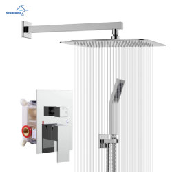 Ванная комната 10 дюйма Chrome душ под струей воды, роскошных монтироваться на стену осадков душевой головкой комбинированный душ системы