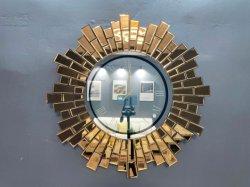 حديث مخصص تعليق الجدار الفن الديكور الزجاج المنزل مرايا الساعة