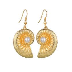 Plage de mode conque Pearl Earrings couleur or de la femme de luxe oreilles Pendentif Earrings Bijoux mariage élégant de la Corée Mesdames