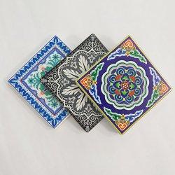 Sottobicchiere di ceramica quadrato poco costoso personalizzato di marchio con la protezione del sughero