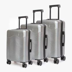 Borsa da viaggio personalizzata in argento con logo e fascia alta impermeabile per aziende Set di bagagli con ruote a ruote orientabili