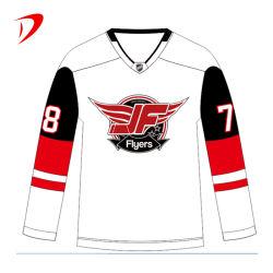 Impresos personalizados baratos Hockey práctica Mayorista de impresión por sublimación completo 100% poliéster divertida camiseta de portero de Hockey sobre Hielo personalizado