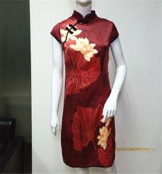 섹시한 중국 전통 웨딩 여성 레드 드레스 청삼 치파오