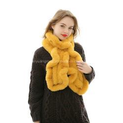 L'ODM prix d'usine Fashion hiver Fake Écharpe de fourrure de lapin Rex