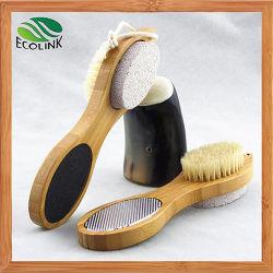 Escova de cerdas naturais de pé e pedra-pomes combinadas com pega de madeira