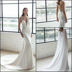 Lace Bridal trajes formales Julie tapón de gasa vestido de novia de biselado Lb 1929