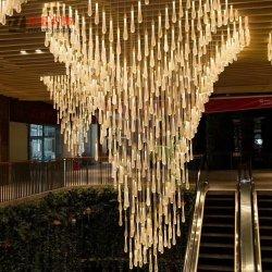 Burbuja sólido Lobby popular moderna decoración de cristal lámpara de araña de iluminación personalizados