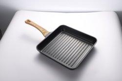 Новый стиль говядины обжарить доски умереть - литой сковороде с деревянной ручкой Suquare Non-Stick гриля поддон