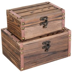 Elegante de madera 2 piezas de madera Caja de regalo cuadro Organización para la joyería/Tesoro