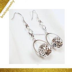 فريد [18ك] نوع ذهب كرة شكل ميل تصميم حلق مجوهرات لأنّ بنات
