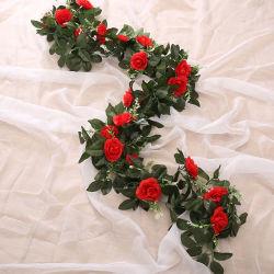 로즈 담쟁이 홈 호텔 사무실 결혼식 정원 기술 예술 D&eacute를 거는 꽃 화환 로즈 덩굴 인공 꽃; Cor (분홍색)