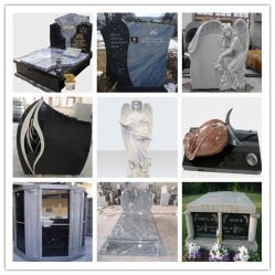 La pierre naturelle blanc/vert/gris/rouge/noir Monument de pierre tombale de granit pour jardin Cremetery
