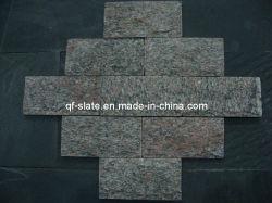Peonía roja piedra cuarcita, Piedra Natural, en la pared de piedra de Setas