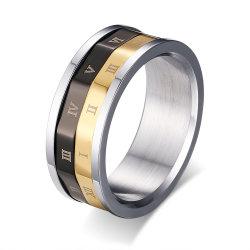 La decoración de color negro y oro Número de Roma de los anillos el anillo de girar el mecanismo de giro