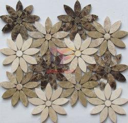 Темный&лампа Эмперадор Смешайте сливки Marfil мраморной мозаикой плиткой в форме цветка (СГК1182)