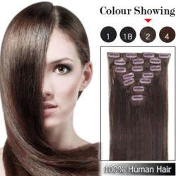 Clip di prezzi all'ingrosso nell'insieme completo brasiliano della testa di estensioni 7pieces 16clips dei capelli del Virgin