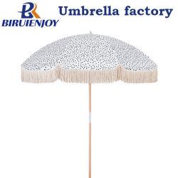 Mayorista personalizada 200cm al aire libre rodeada de lujo Playa paraguas con borlas de algodón de palo de madera