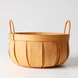 De madera artesanales decorativos Vaciar cesta de regalo con asa