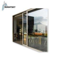 Fabricante de tamanho personalizado Interior de alumínio insonorizado quarto deslizantes de vidro de painéis de porta com tela