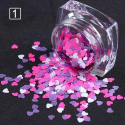 Formato de coração de cores misturadas Nail Lantejoulas Flocos Manicure Nail decoração Arte