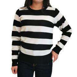 Un maglione lungo delle 2020 in bianco e nero bassa più poco costosa del manicotto lavorato a maglia ultima di disegno Wholesale/OEM di modo MOQ banda donne della camicia